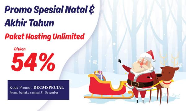 Promo Natal 2019, Diskon Hosting Unlimited 54%